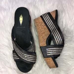 Volatile Cork Wedge Rhinestone Black  Shoes 6
